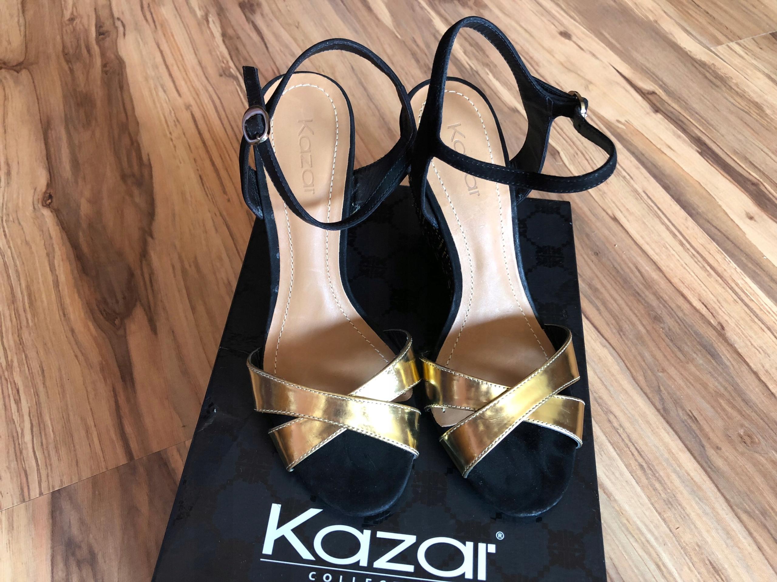 9c27ab63 KAZAR Sandały złote metaliczne na koturnie NOWE 36 - 7677131070 ...