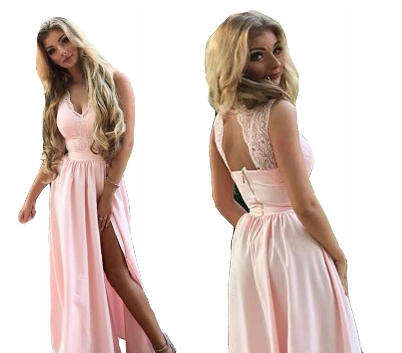 029bace940 Sukienka elegancka długa wesele plecy koronka Z - 7390455439 ...