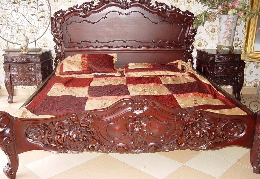 Antyki24 łóżko Drewniane Mahoniowe W Stylu Rokoko