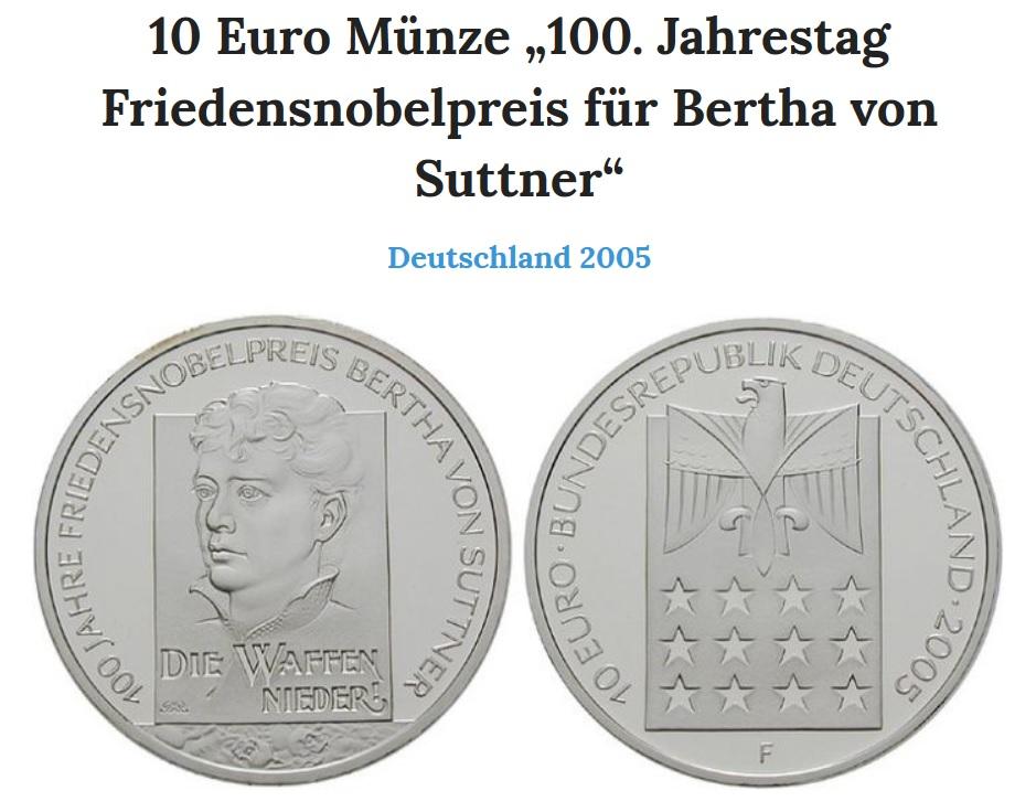 10 Euro Moneta 100 Jahrestag Bertha Von Suttner 7332078496