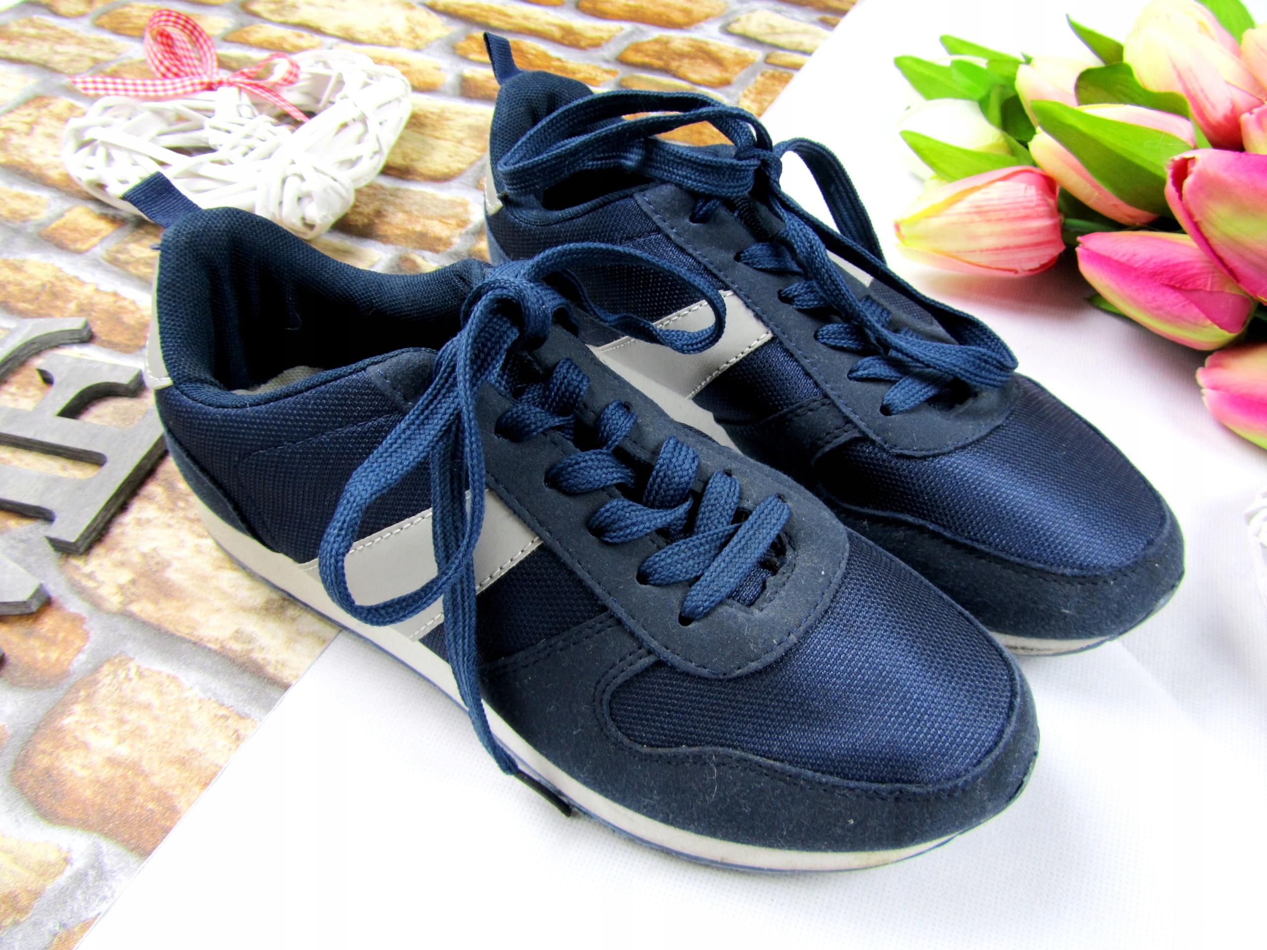 in extenso buty trampki niebieskie wiazane 38