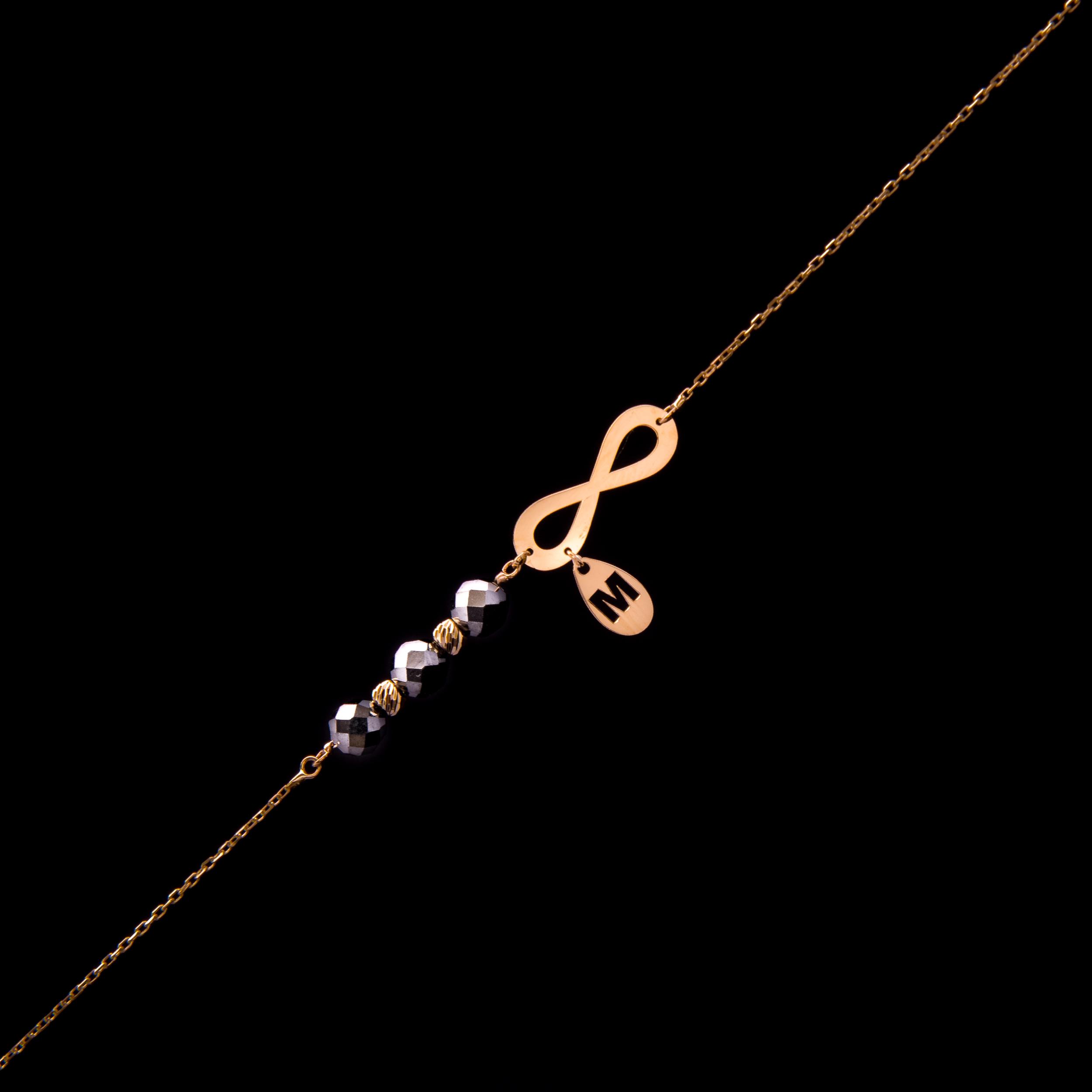 Złota Bransoletka Pr585 Nieskończoność Litera M 7260738154