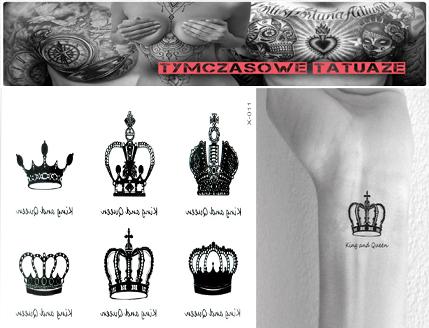 Tatuaż Zmywalny Królowa Król King Queen Korona 7344004659