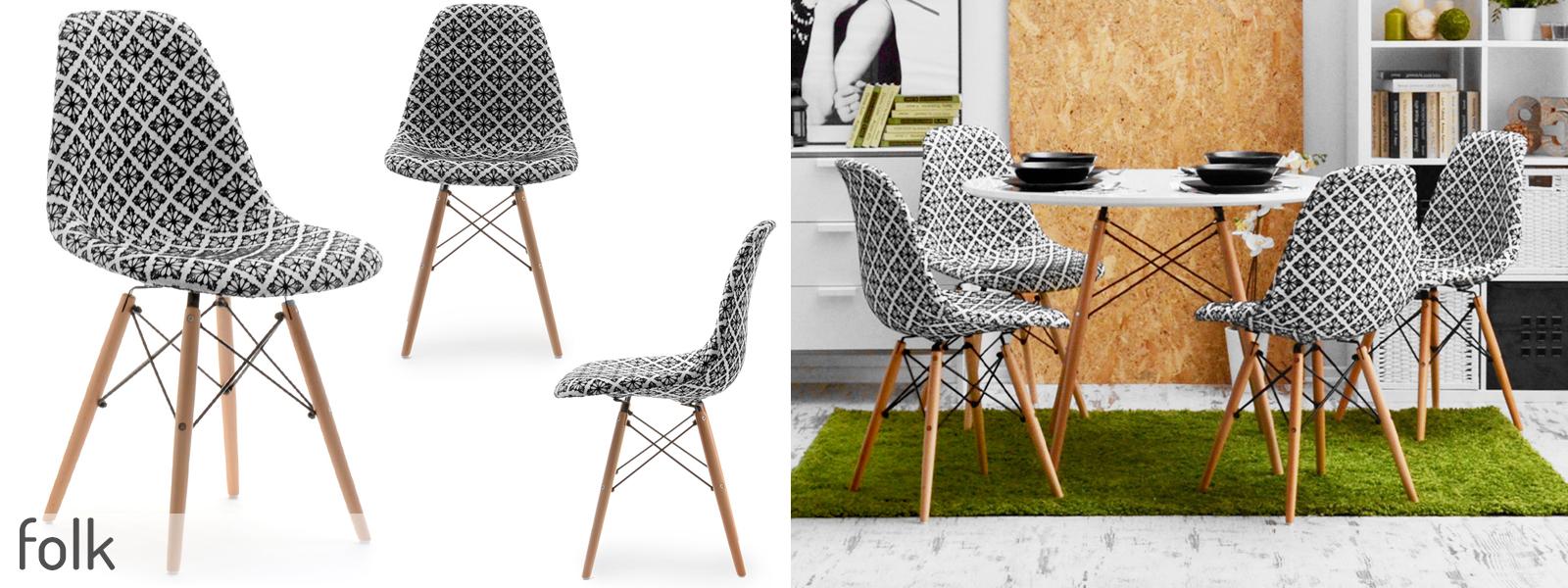 Tapicerowane krzesło drewniane nogi mpc wood wzory 7241799390