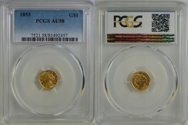 6. USA 1 $ 1853 ZŁOTO GRADING PCGS AU58 GCN 2.11