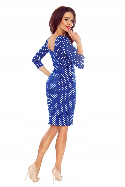 38d1195b76 Ołówkowa sukienka w grochy z rękawami 3 4 L Niebie - 7440169782 ...