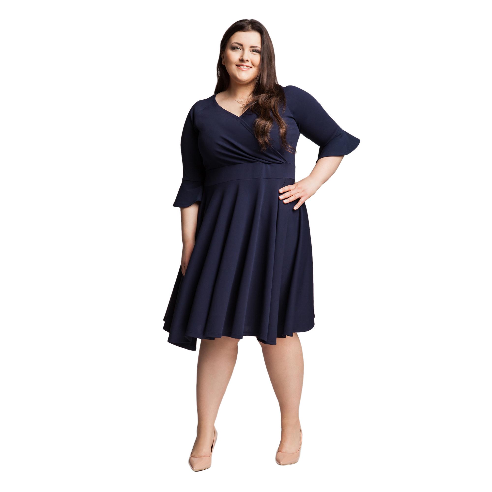 7d0adf99ed Granatowa sukienka plus size z falbaną 52 54 XXL - 7359120693 ...