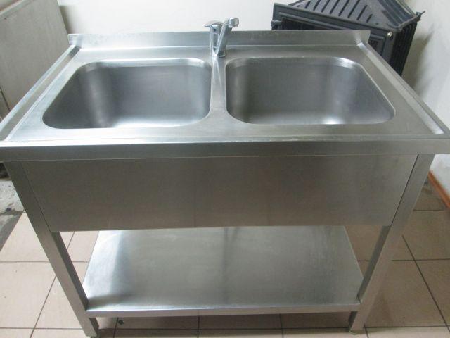 Chłodny basen , zlew gastronomiczny dwukomorowy z baterią - 7127990329 JM23