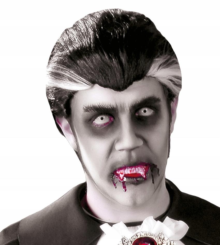 Peruka Drakula czarno-biała Halloween [919/4229]