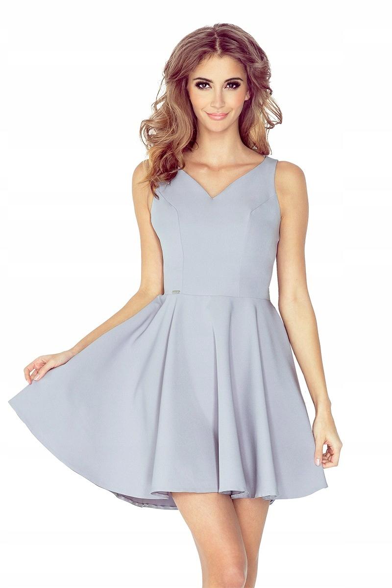 3d865799f0 Sukienka z koła - dekolt serce - Szara S - 7442029223 - oficjalne ...