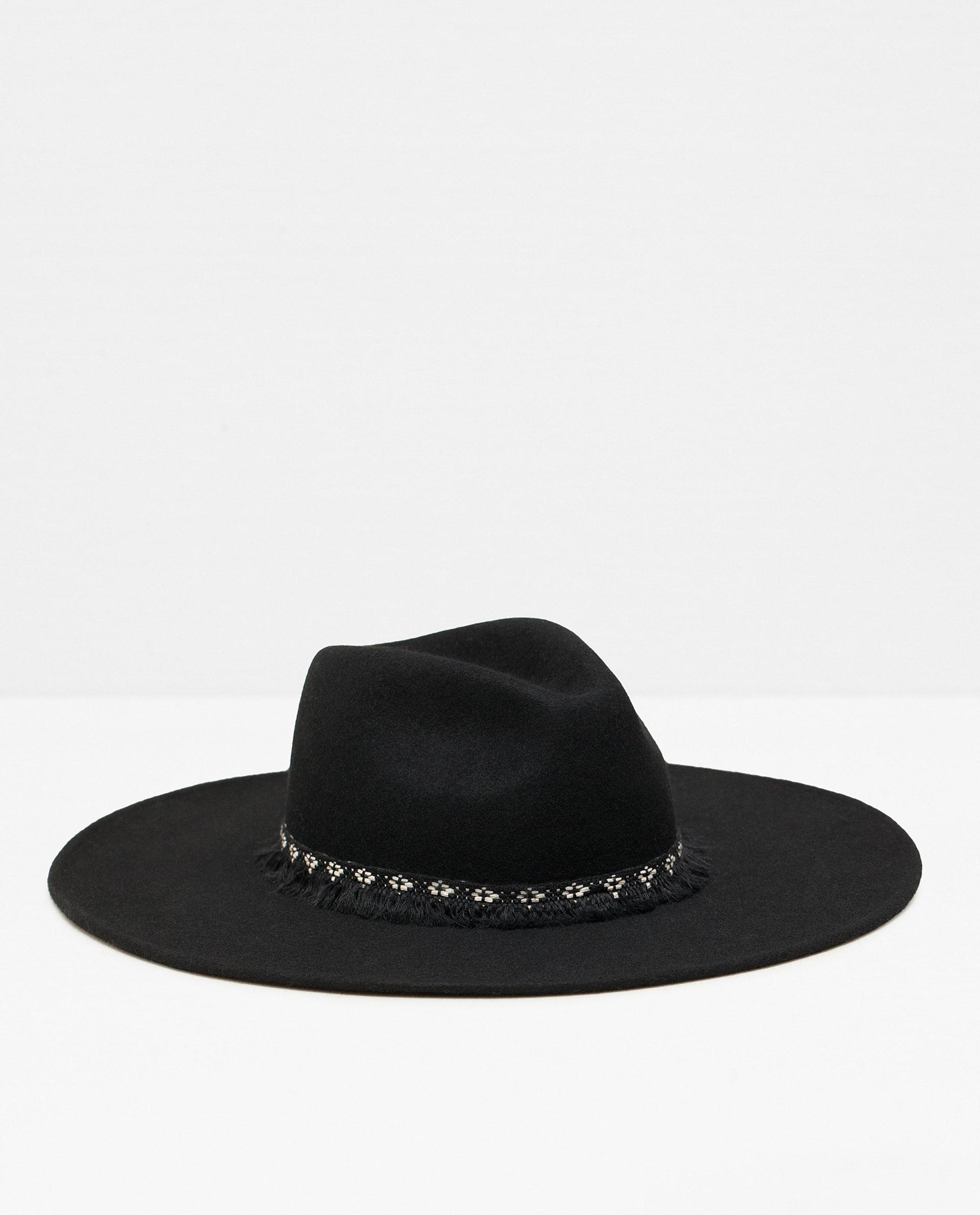 ZARA czarny kapelusz z dużym rondem