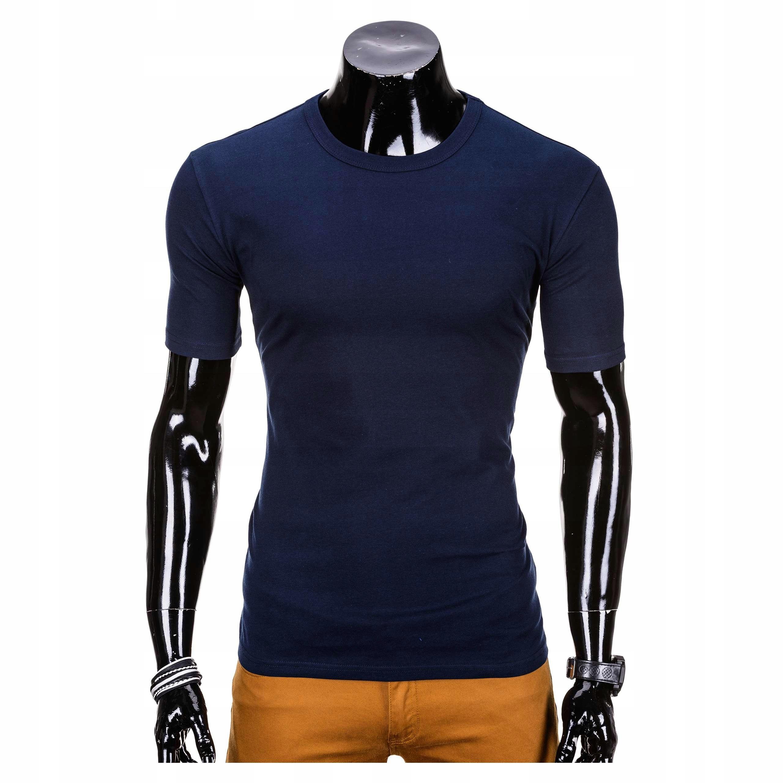 68b356c58ea5ea Koszulka t-shirt gładki OMBRE S620 granatowa L - 7398146377 ...