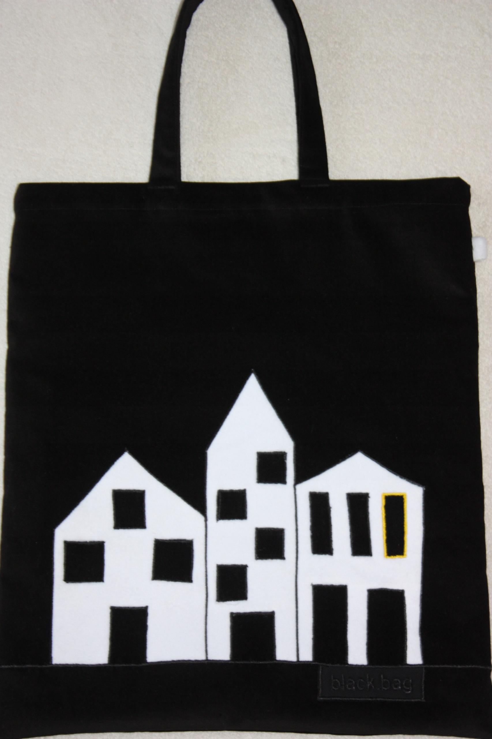 53cbd2ed982d7 rękodzieło torba czarna białe domki -na Fundację - 7663100972 ...