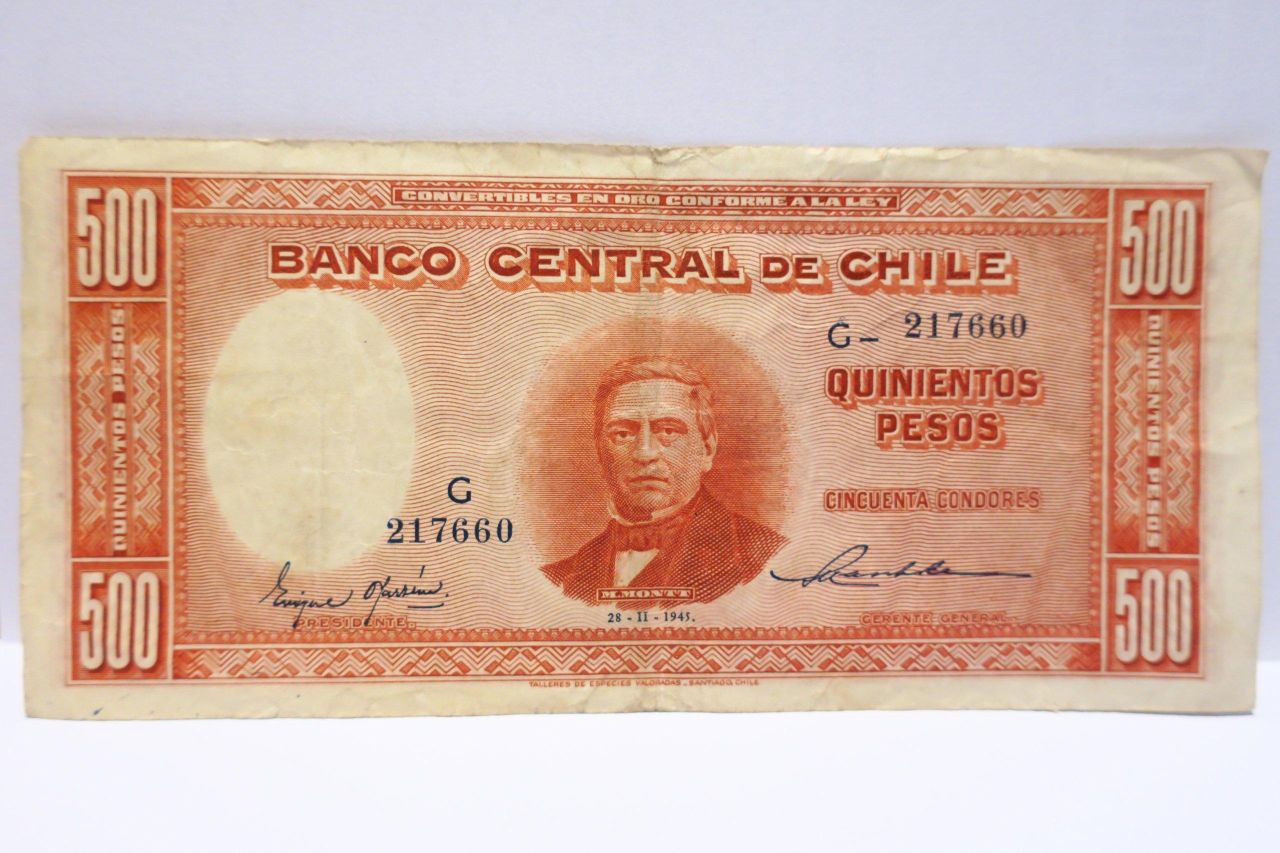 500 PESOS 1945 CHILE G RZADKI