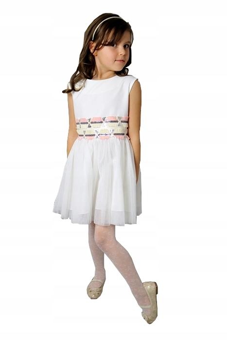4804a214ee Elegancka Biała Sukienka Komunia Wesele roz 152 - 7150293741 ...