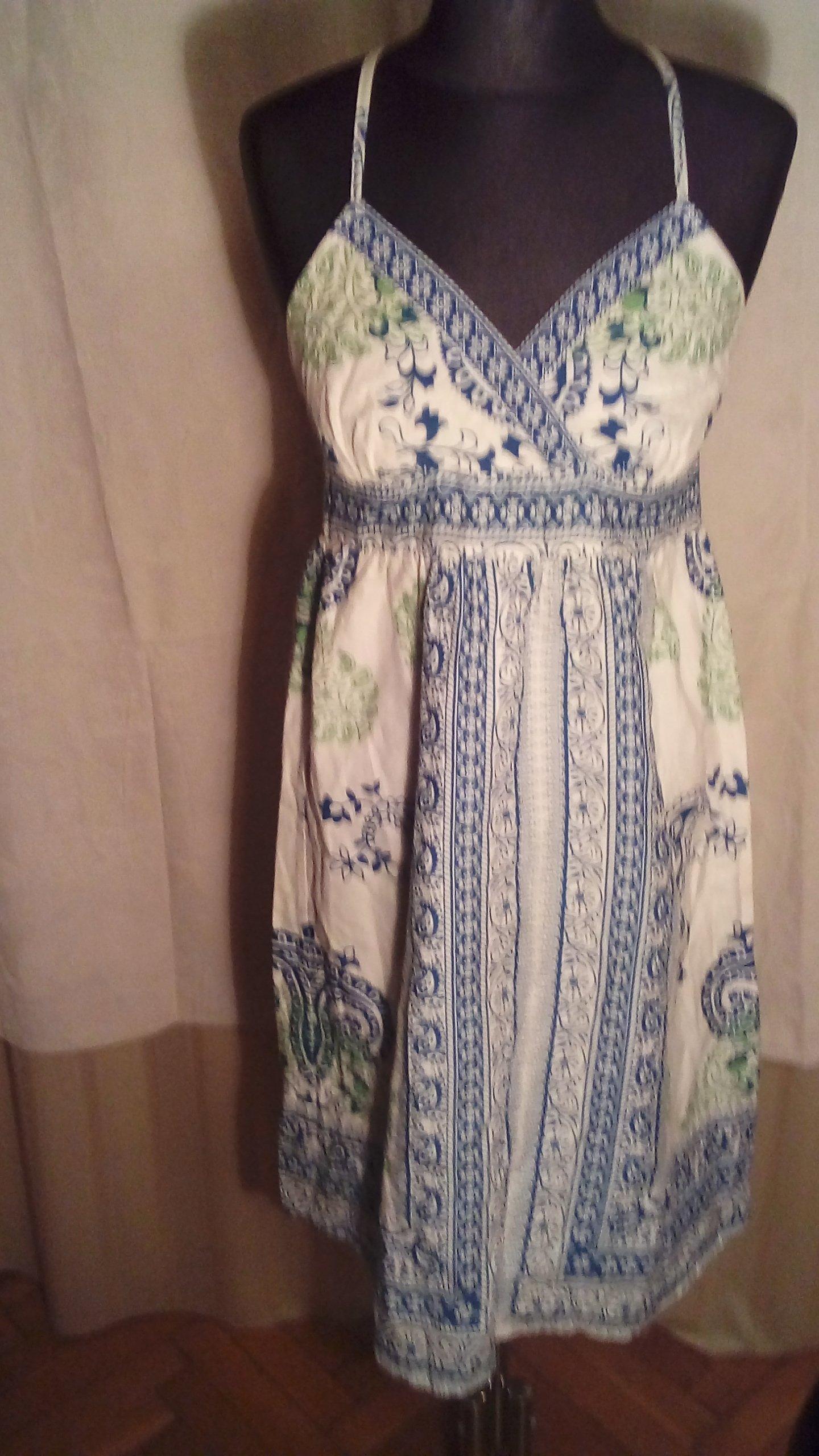 450cc7da7d Letnia biała sukienka w niebieskie wzory S - 7251072918 - oficjalne ...