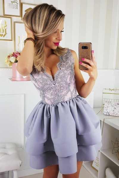 9b2700668e Sukienka z koronkowym gorsetem - szara z różową po - 7410533933 ...