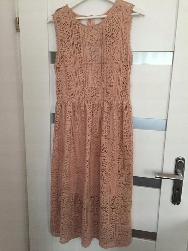 d91231a3 sukienka ZARA koronka beż maxi dress 38 M - 7518866541 - oficjalne ...