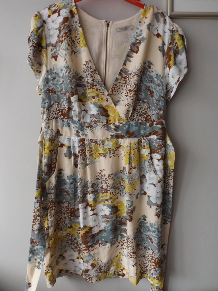 a3ac9b7135e20c Sukienka kremowa beżowa kwiatki kwiaty 40 42 - 7242020794 ...