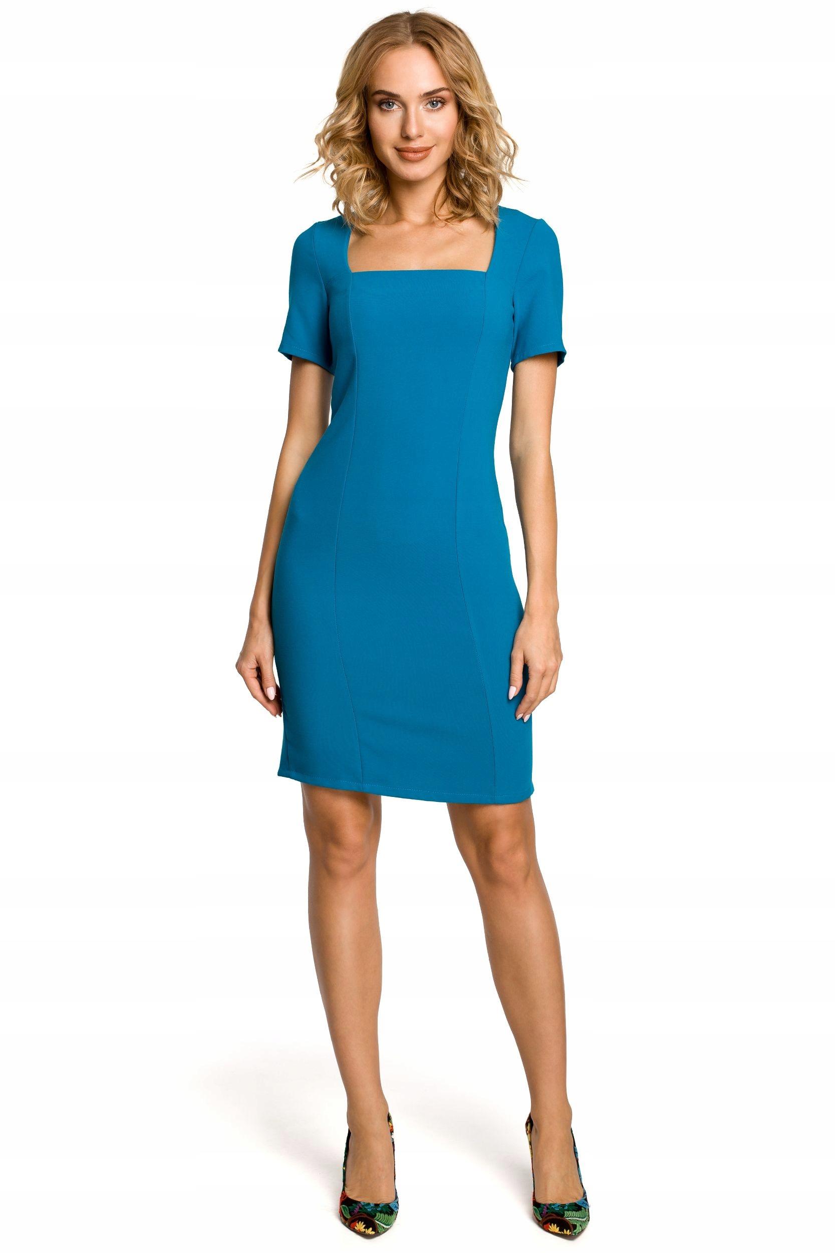 d89146fbb6 M192 Ołówkowa sukienka przed kolano - turkusowa 38 - 7566780991 ...