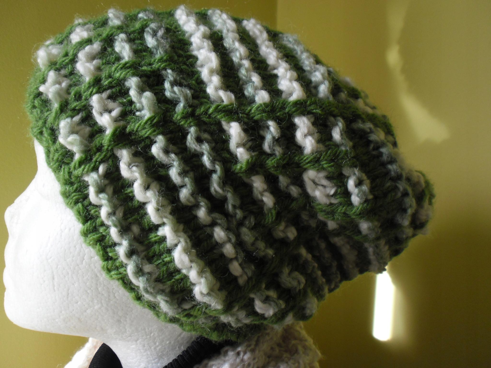 RĘKODZIEŁO wełniana ciepła czapka zieleń krem L