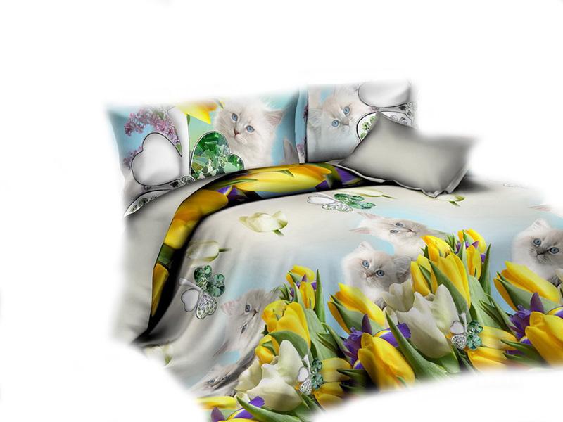 Pościel 3d 160x200 Kotki Kwiaty Biały Kotek 3 Cz 7335709903