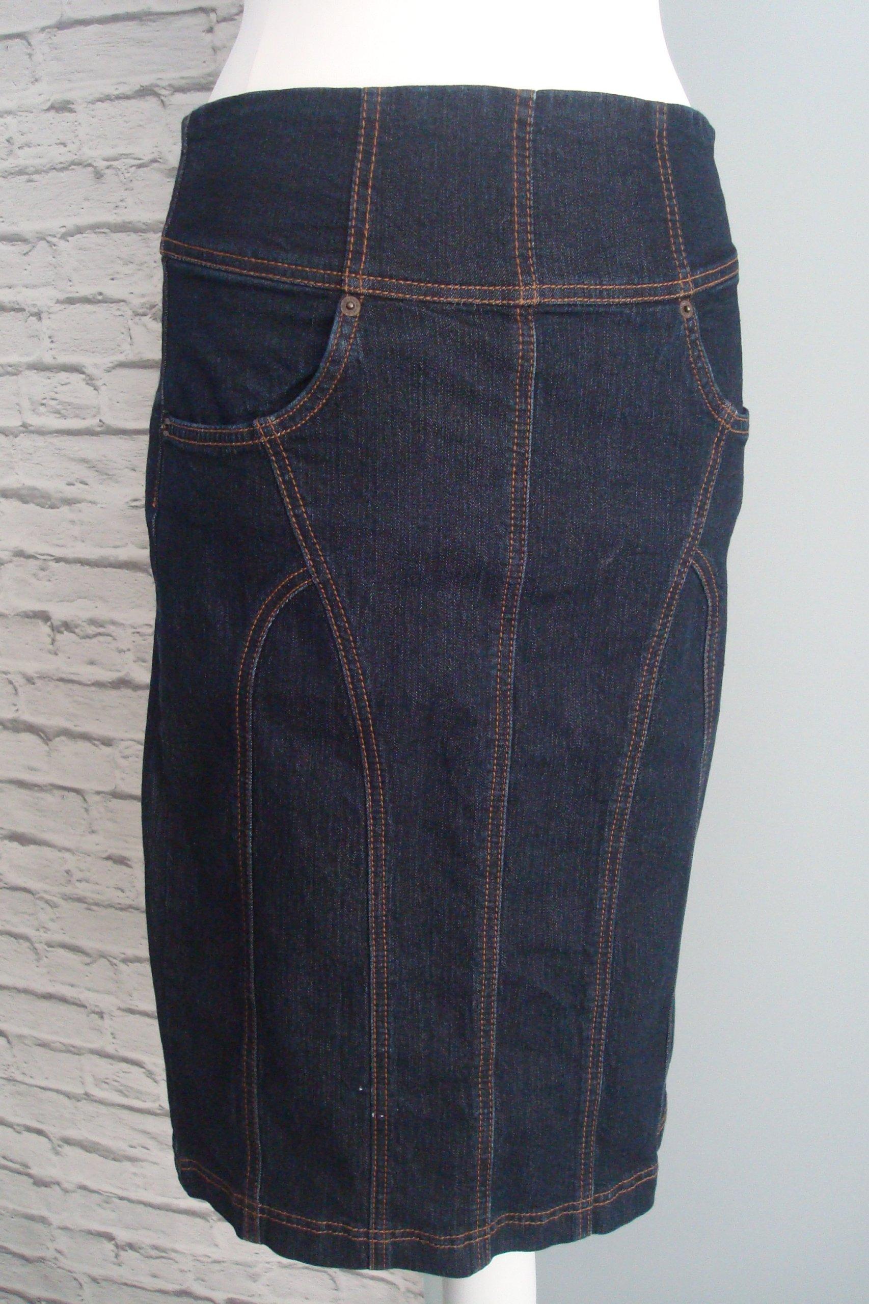Granatowa spódnica jeans casual midi L 40
