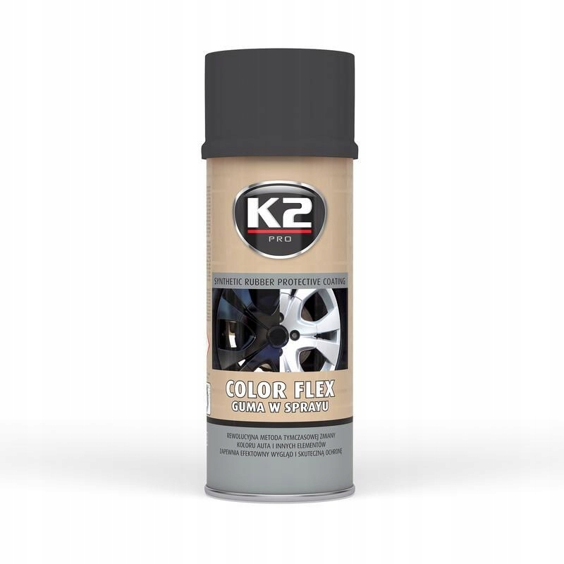 K2 guma w sprayu color flex czarny mat 400ml