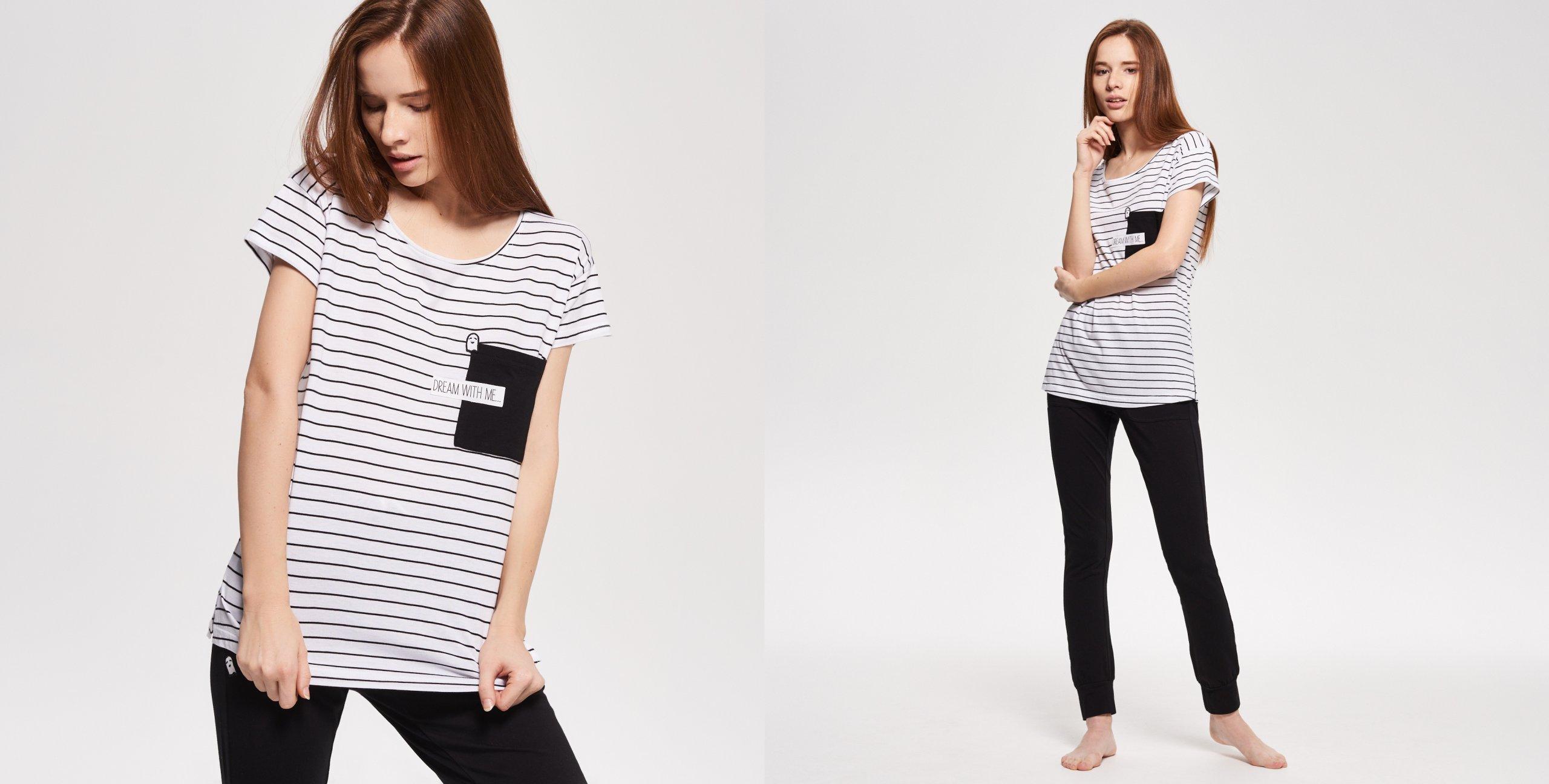 piżama biało czarna długie spodnie