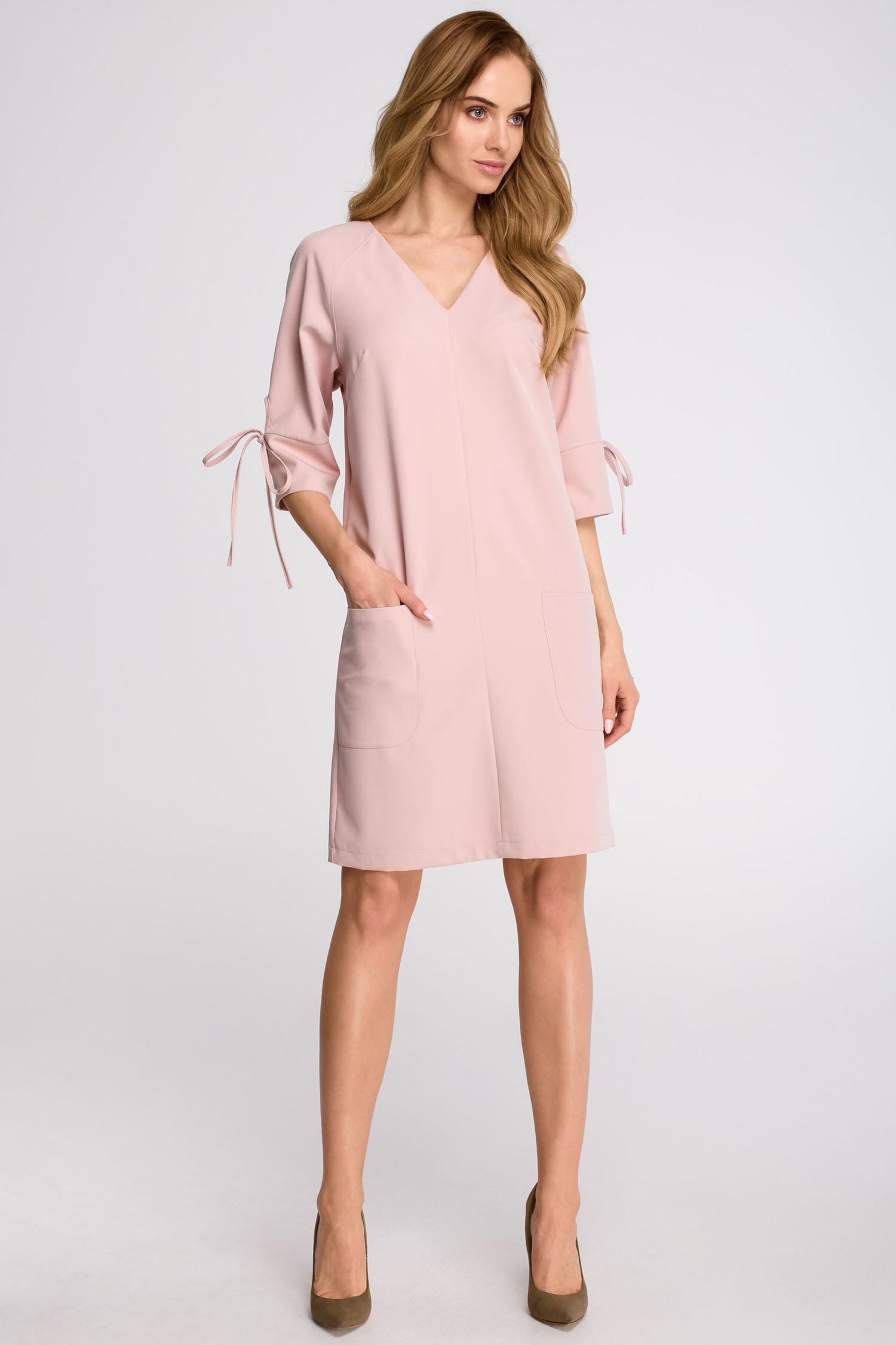 5a0c9dcd6d Minimalistyczna Prosta Sukienka Kieszenie RÓŻOWA M - 7551547198 ...