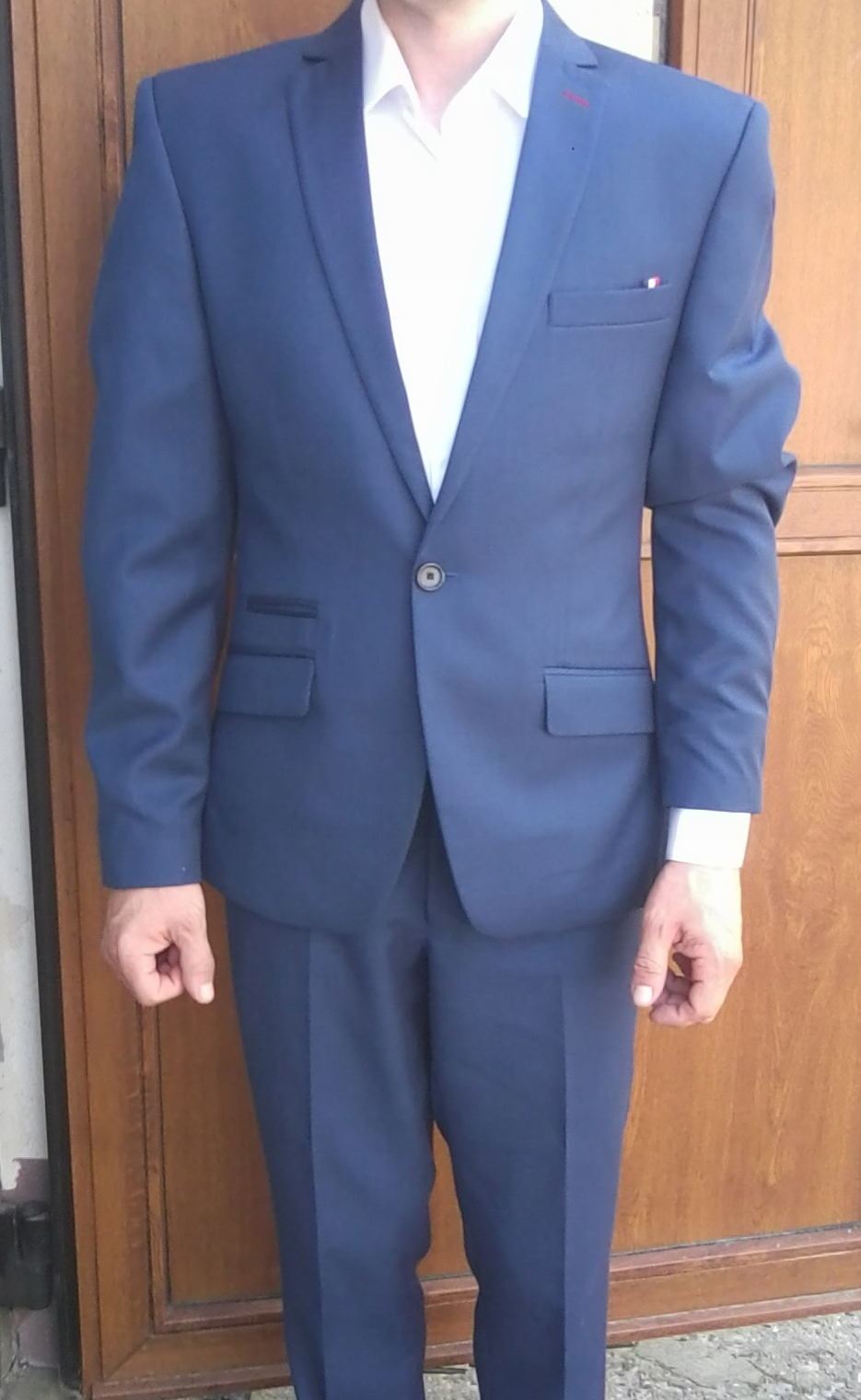 328086466c4af Piękny Garnitur. Ferrano. Niebieski. Wełna 45% - 7469355196 ...