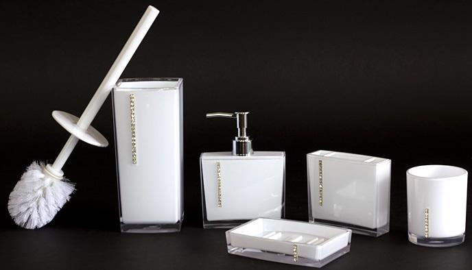 Zestaw łazienkowy Do łazienki Biały 5el Akcesoria