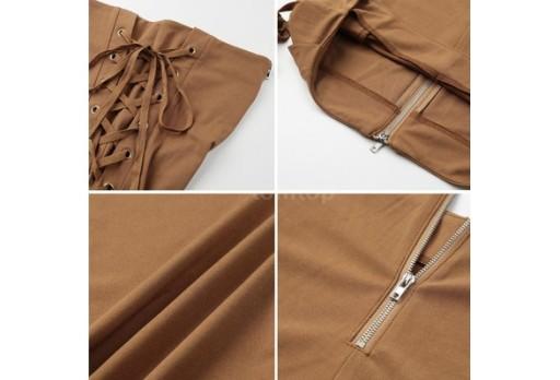 Spodnie z wysokim stanem,wiązania na biodrachS 5XL