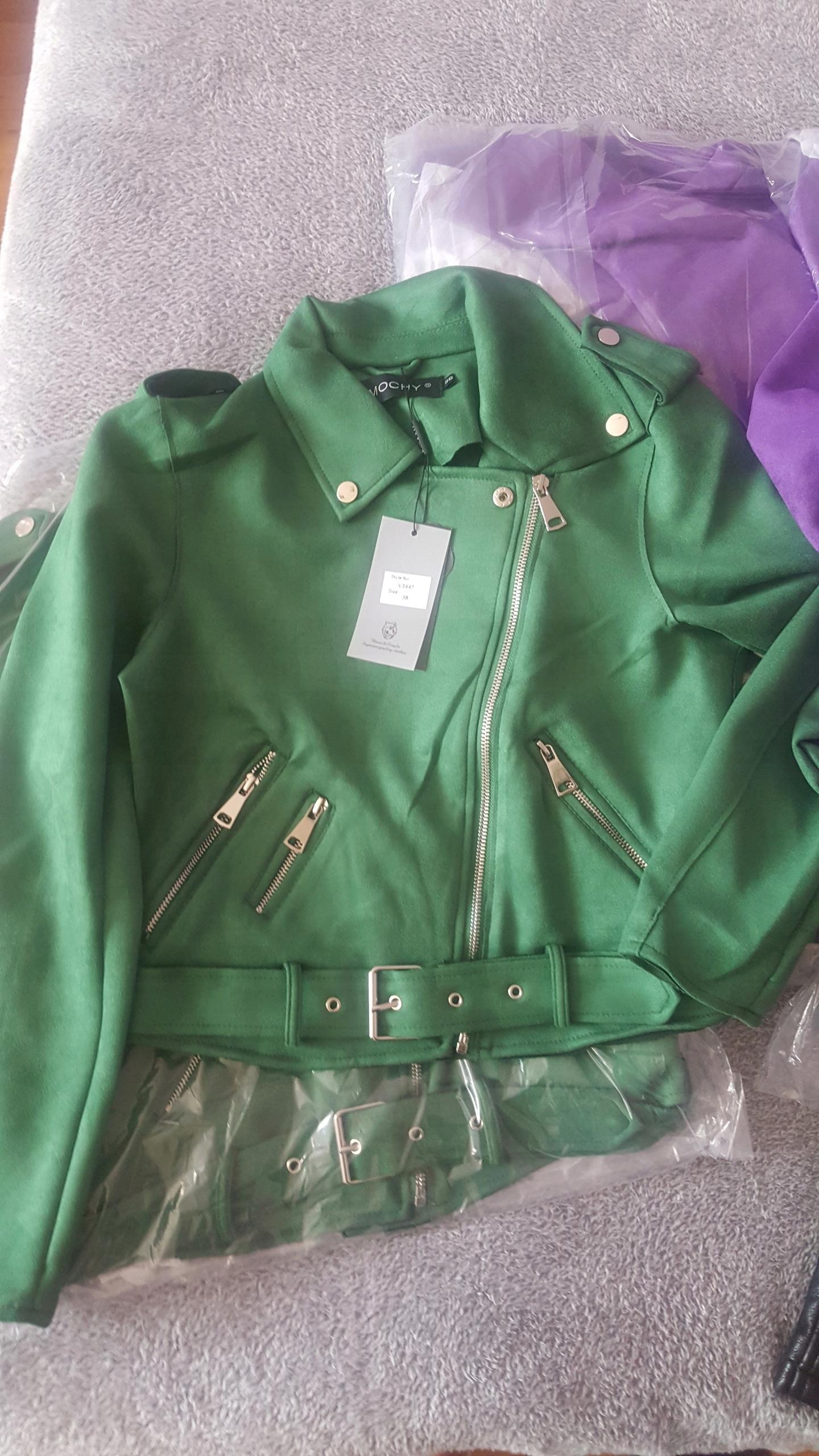 a8301bb28aa06 Ramoneska zamszowa zielona kurtka - 7575376064 - oficjalne archiwum ...