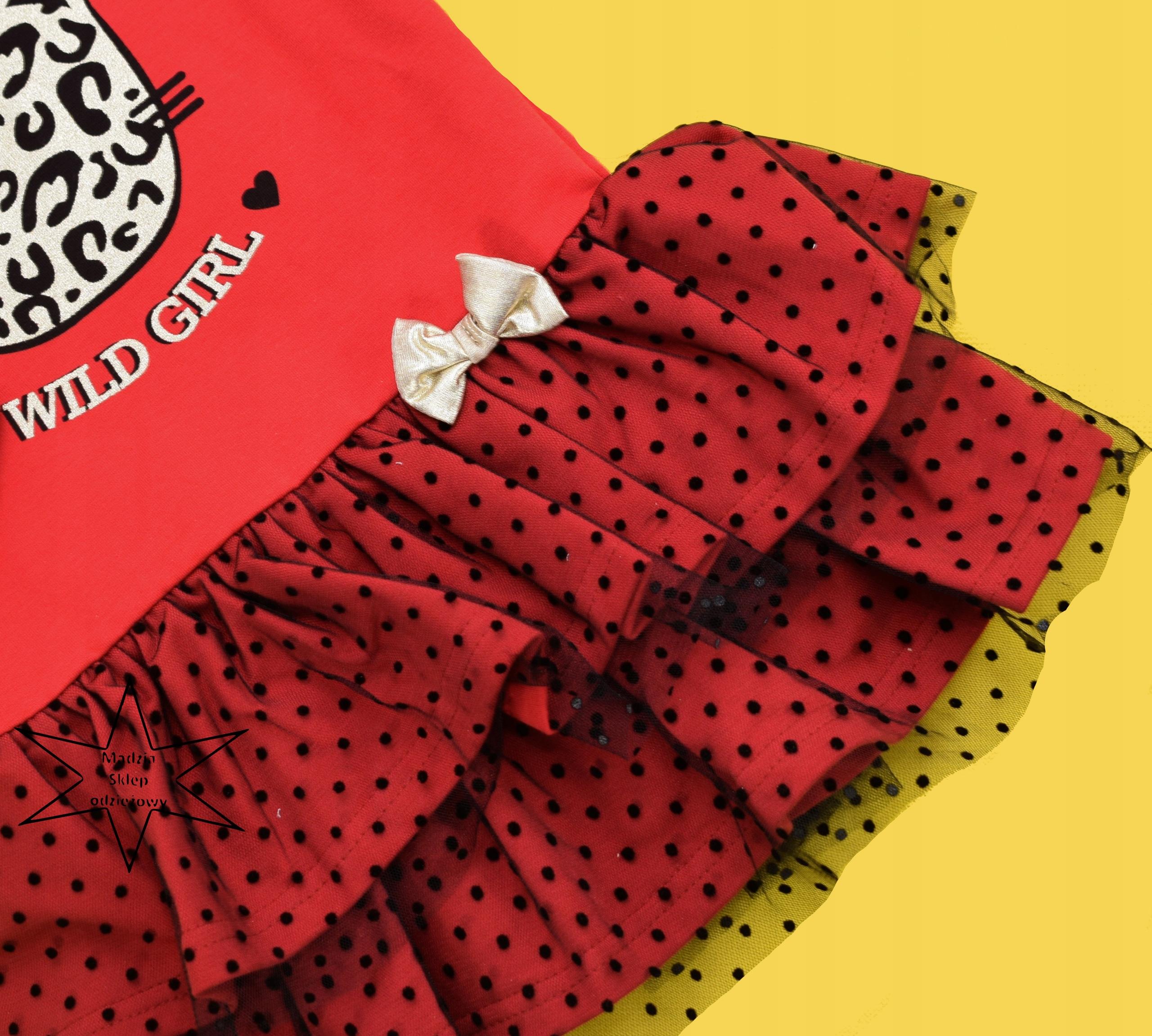 3a2119d33c Sukienka wizytowa czerwona falbanki Gamex 92 - 7681846942 ...