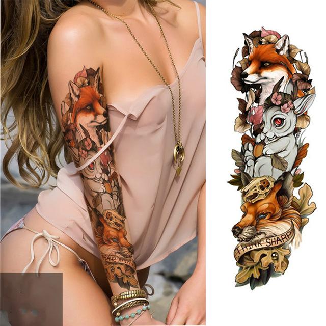 Tatuaż Zmywalny Rękaw Zwierzęta Lasu 7338942461