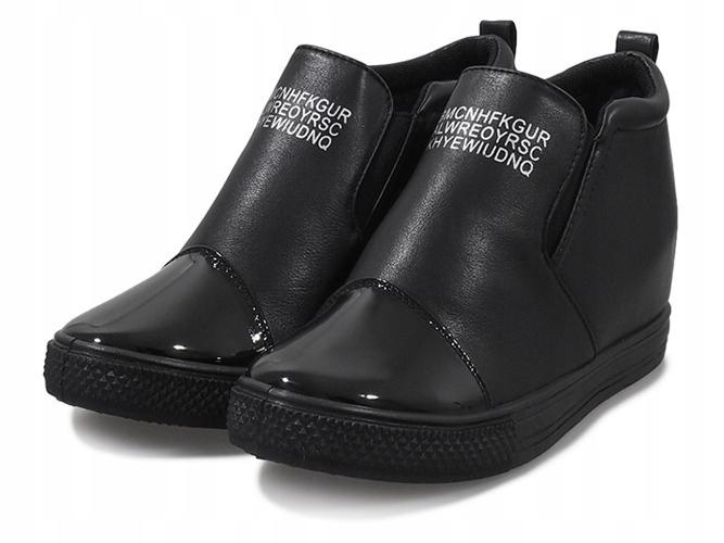 4eb8926a23b54 Czarne sneakersy koturny trampki botki DD408-1 39 - 7561433423 ...