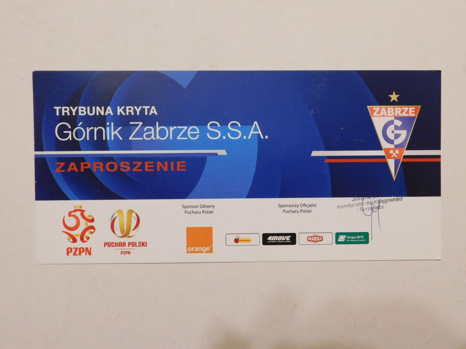 Zaproszenie Górnik Zabrze Puchar Polski 7165107455 Oficjalne