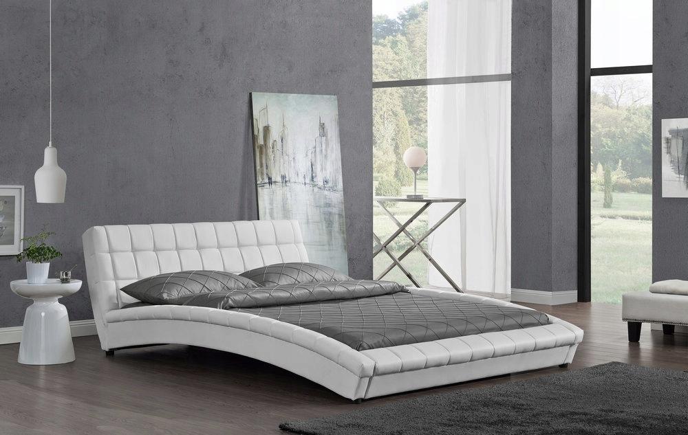 Białe łóżko Tapicerowane Skóra 140x200 Milano 7439521199