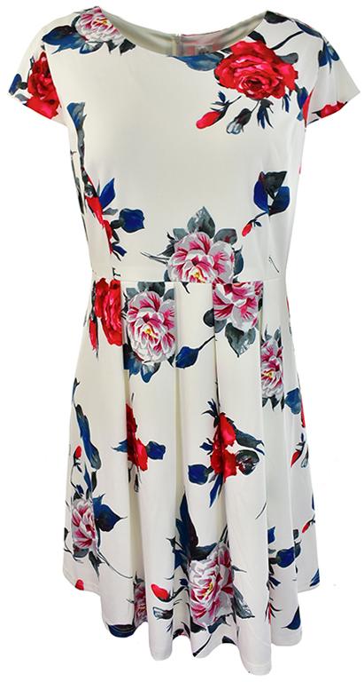 kZ0923 biała sukienka w kwiaty 48