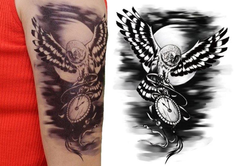 Zegar Czas Tatuaż Kalkomania Naklejka Sowa Tm19 7133749610