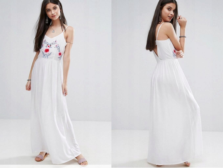 bc22232ac0 BOOHOO Biała Sukienka Maxi Haftowane Kwiaty S 36 - 7441900369 ...