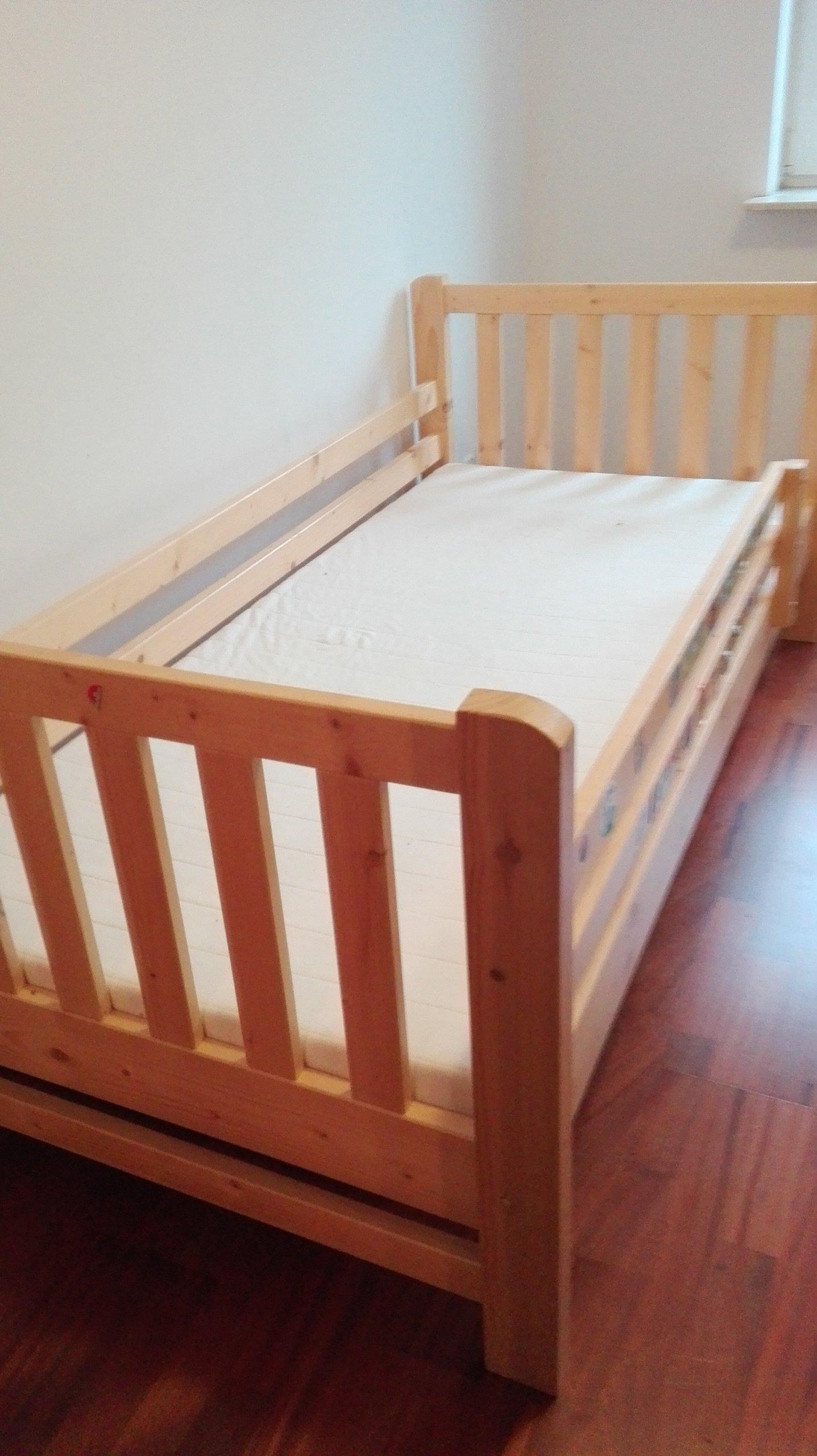 łóżko Drewniane 90x200 Z Barierką I Materacem 7193332858