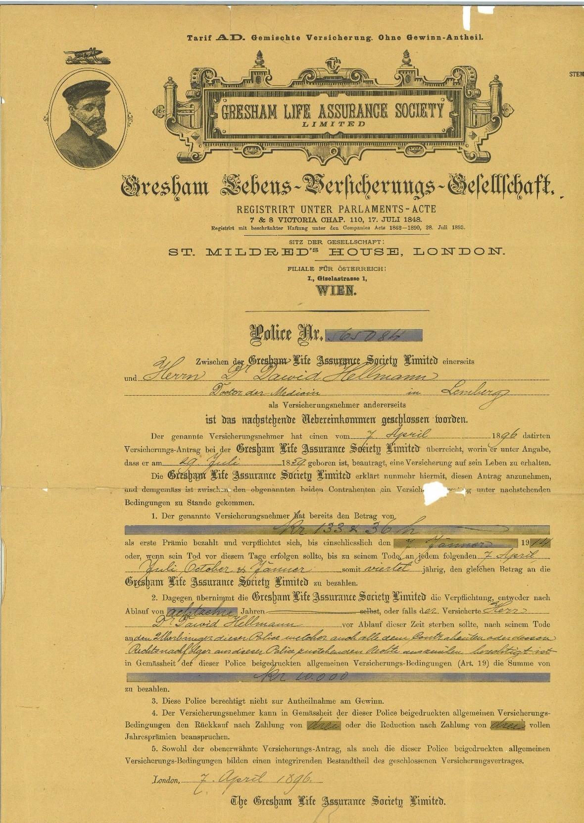 GRESHAM LIFE ASSURANCE POLISA LWÓW 1896