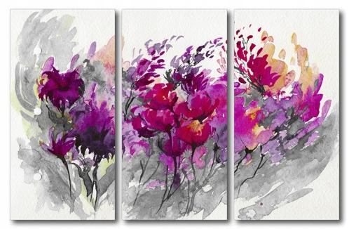 Obraz Tryptyk 90x60 Kwiaty Abstrakcja 7079362594 Oficjalne