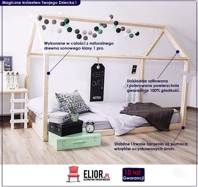 Promocja łóżko Domek 90x200 Drewniane Dla Dzieci 7251283756