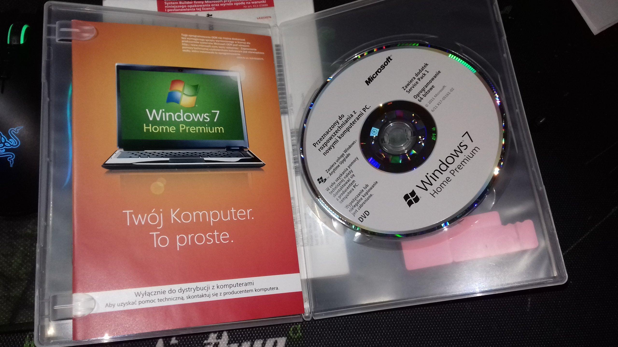 Windows 7 Home Premium, licencja fizyczna + DVD