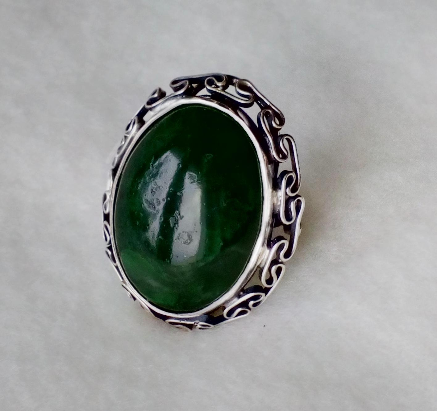 Groovy Srebrny pierścionek duży z zielonym jadeitem ORNO - 7082246179 NS95