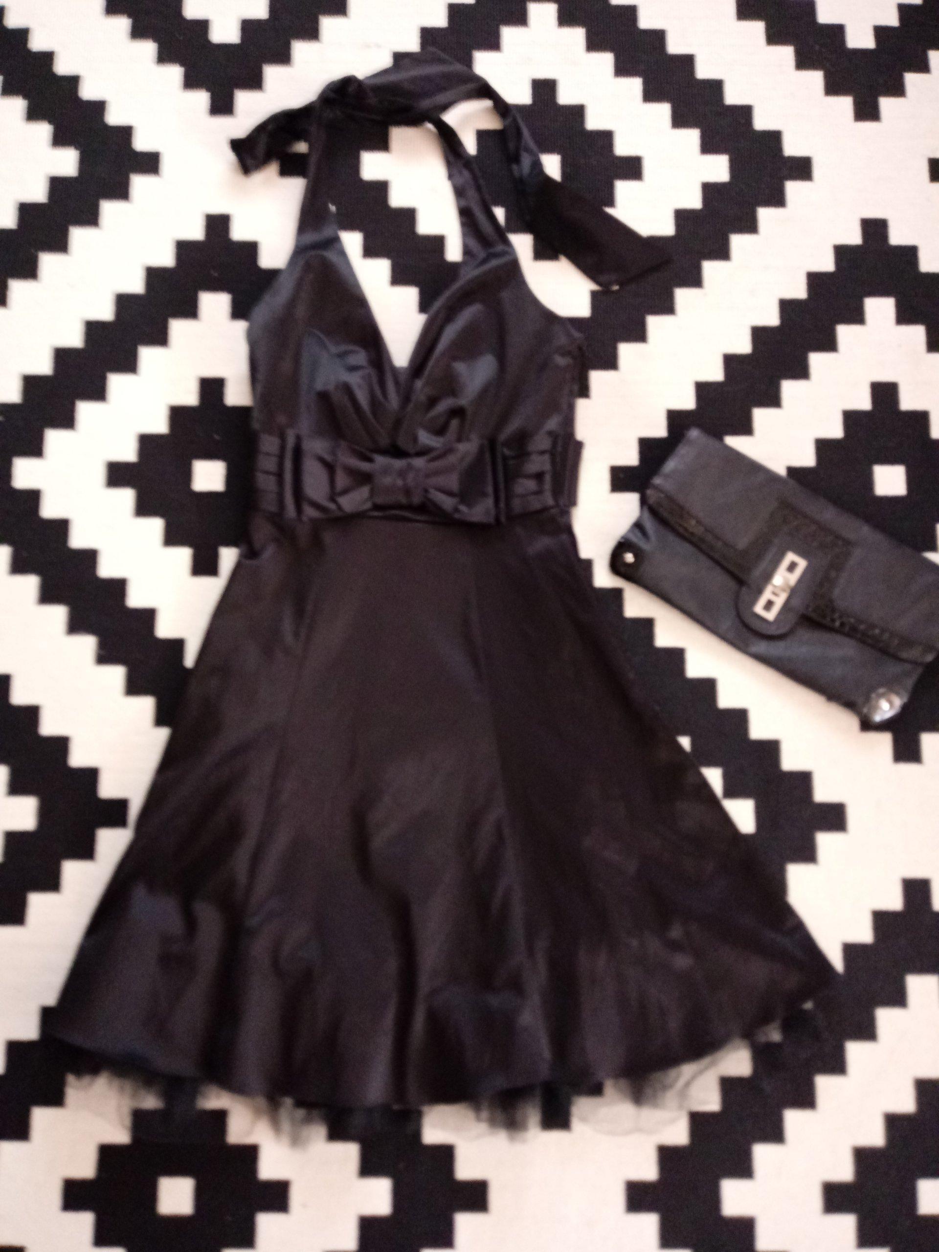 9373c6604f Czarna sukienka XS kokarda - 7298057763 - oficjalne archiwum allegro