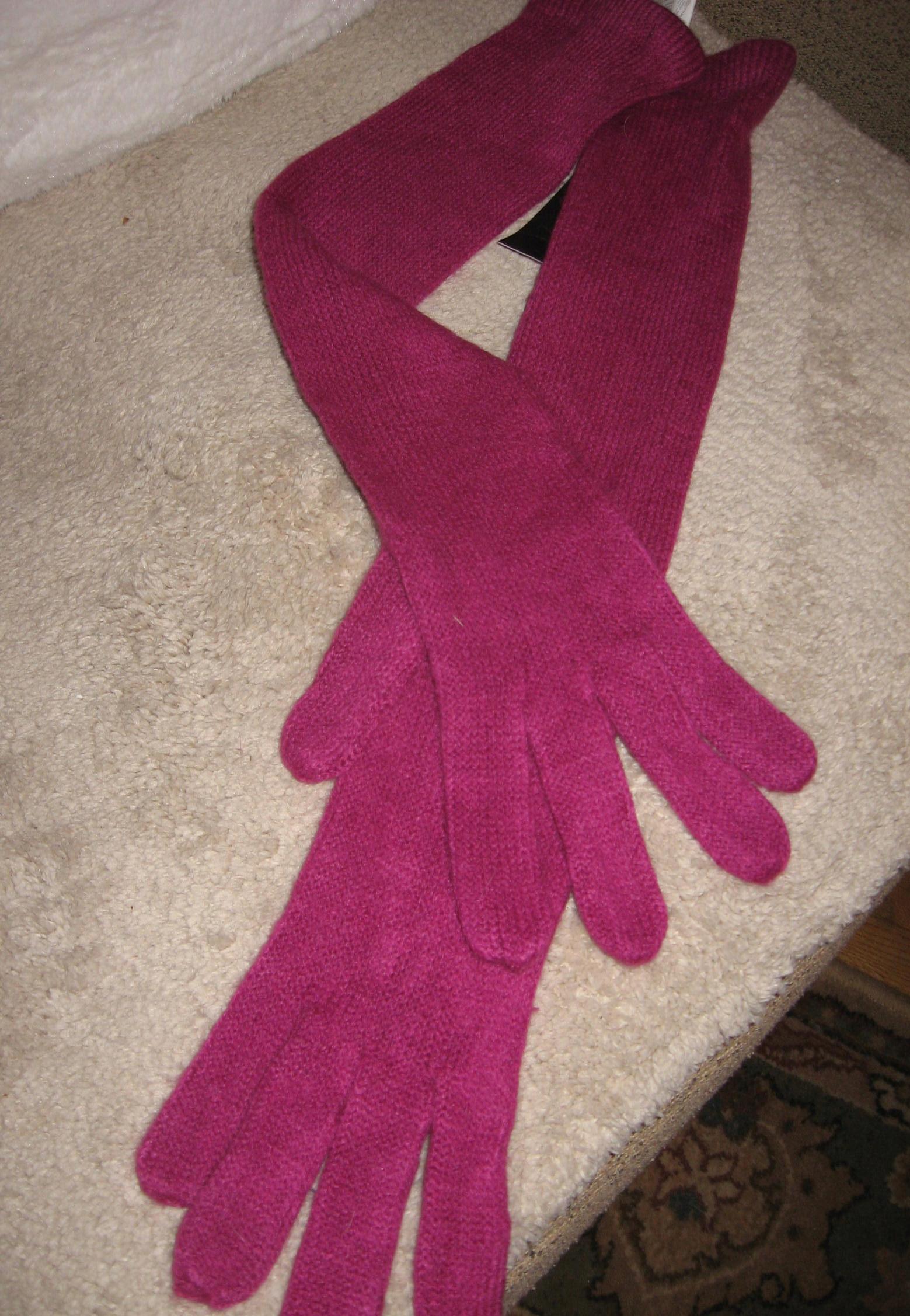 Długie rękawiczki fuksja Pieces M/L